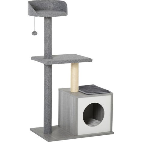 PawHut Cat Tree Resting Activity Tree Tower w/ House Perch Platform Scratching Post
