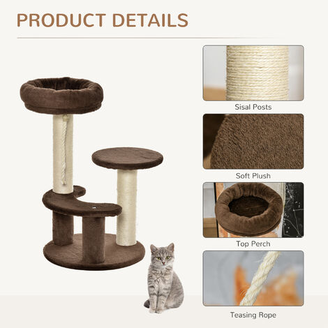 PawHut Cat Tree Scratcher 2 Perch w/ Hanging Sisal Rope Brown