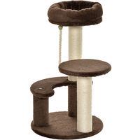 PawHut Cat Tree Scratcher 2 Perch w/ Hanging Sisal Rope Brown