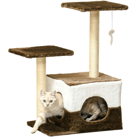 PawHut Cat Tree Scratcher Condo Scratching Post House Furniture With Hanging Toy Brown