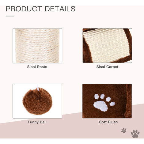 Pawhut Cat Tree Scratching Post Kitten Scratcher Sisal Rotatable Top Bar Tunnel Dangling Ball
