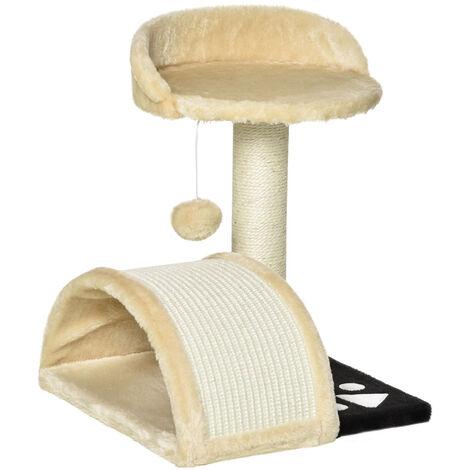 PawHut Cat Tree Scratching Scratcher Post Kitten Activity Centre Climber Hanging Ball Beige