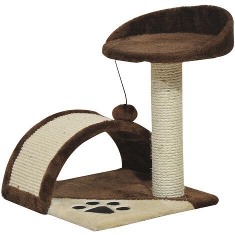 PawHut Cat Tree Sisal Kitten Activity Centre Scratching Scratcher Post Rest Bed Brown