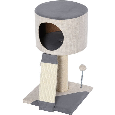 PawHut Cat Tree Stand w/ Sisal Scratching Posts Scratching Ball House Grey