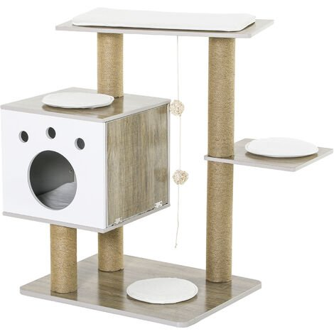 PawHut Cat tree Tower Climbing Activity Center w/ Ramp Cushion Toy Light Grey