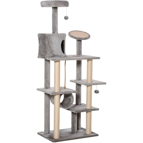 PawHut Cat Tree Tower Climbing Activity Centre Kitten Pet Furniture Grey
