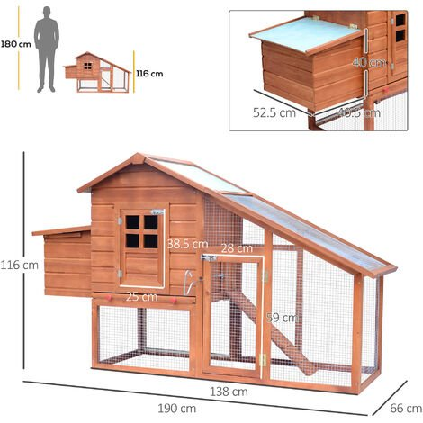 Pawhut Chicken Hen Poultry Coop House Rabbit Hutch Ark Coup Run Nest Box 3-10 Birds W190xD66xH116cm