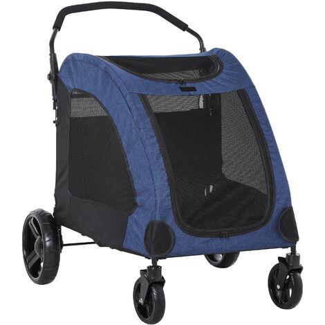 PawHut Cochecito para Mascotas Plegable Buena Ventilación 98x82x110 cm Azul