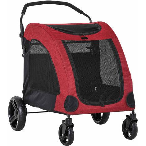 PawHut Cochecito para Mascotas Plegable Buena Ventilación 98x82x110 cm Rojo