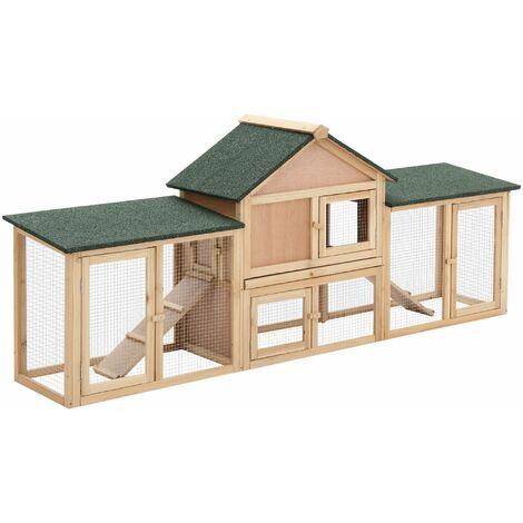 PawHut Conejera de Exterior Grande Casa para Animales Pequeños Jaula Mascota Conejos