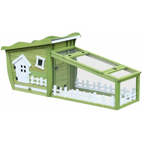 PawHut Conejera de Madera Exterior para Mascotas Pequeñas Bandeja Extraíble 156x65x65cm - Verde