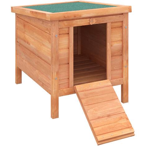 PawHut Conejera Madera Jaula de Exterior para Conejo Techo Abatible y Rampa 51x42x43 cm