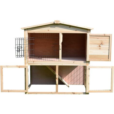 PawHut Conigliera da Giardino 2 Piani con Corsa e Zona Abitativa Impermeabile, Legno, 98x54x100cm