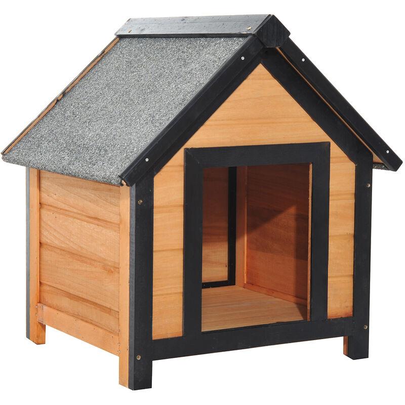 Pawhut cuccia per cani da esterno con tetto spiovente in for Cancelletto per cani da esterno