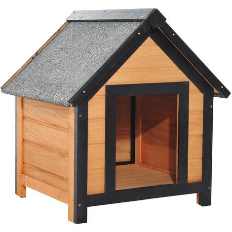 Cucce Per Cani Da Esterno In Plastica.Pawhut Cuccia Per Cani Da Esterno Con Tetto Spiovente In Legno Di