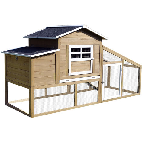 PawHut Deluxe Chicken Coop House Hens Living House Outdoor Run Deluxe