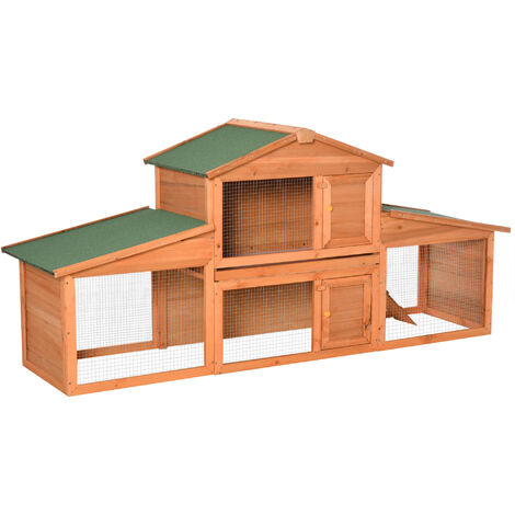 PawHut Deluxe Fir Wood Rabbit Hutch 2-Tier House 2 Doors Ramp Asphalt Roof