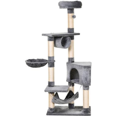 PawHut Deluxe Multi-Tier Cat Activity Tree Tower Kittens w/ House Perch Hammock