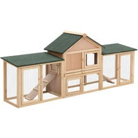 PawHut Deluxe Wooden Bunny Rabbit Hutch w/ Ladder and Outdoor Run