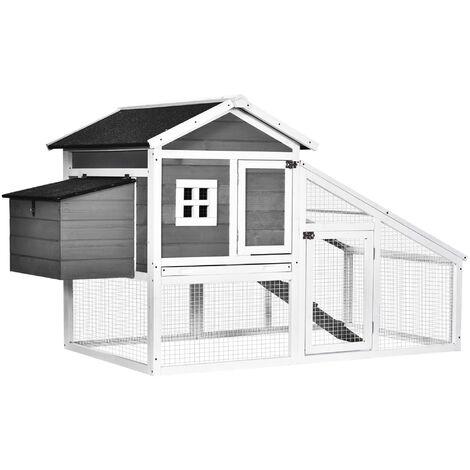 PawHut Deluxe Wooden Chicken Coop Backyard Hen House w/ House Nesting Box Run Ramp
