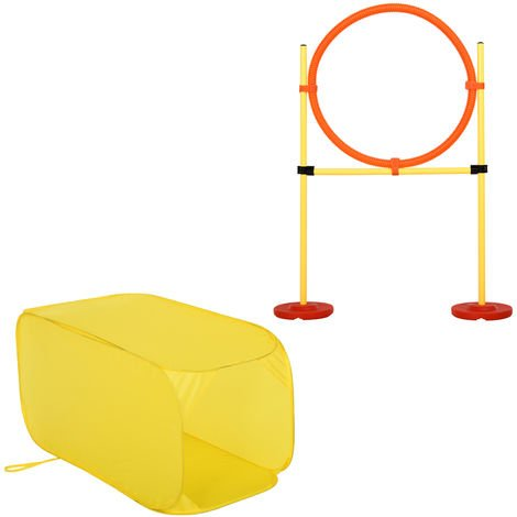 PawHut Dog Agility Training Jump-Through Hoop Set Tunnel Ring w/ Carrying Bag