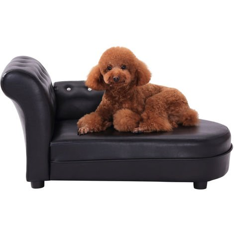 PawHut Dog Bed Pets Sofa Luxury Pets Couch Wooden Sponge PVC - Black
