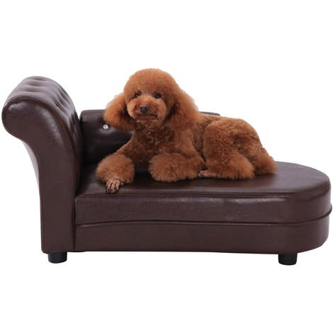 PawHut Dog Bed Pets Sofa Luxury Pets Couch Wooden Sponge PVC - Brown