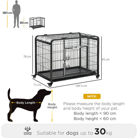 PawHut Dog Crate Foldable Puppy Kennel Cage Pet Playpen w/ Doors 109.5x71cm