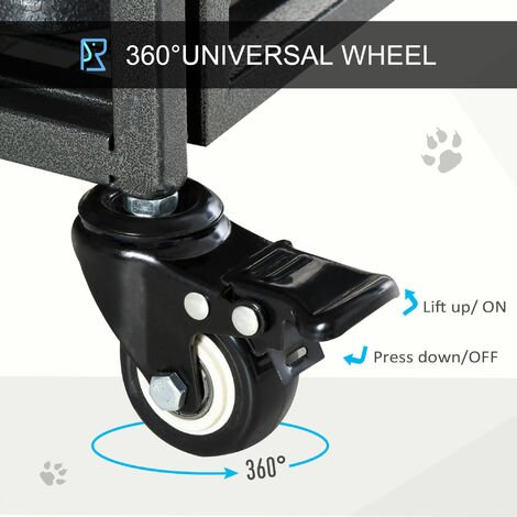 PawHut Dog Crate Foldable Puppy Kennel Cage Pet Playpen w/ Doors 125x76cm