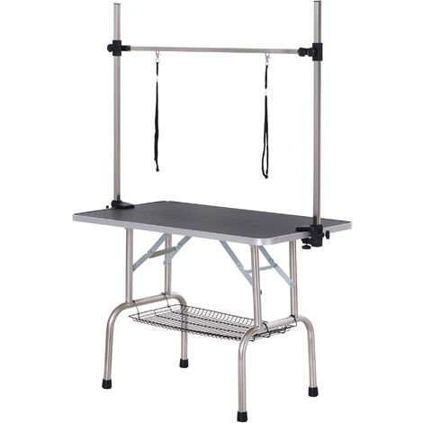 PawHut Dog Pet Grooming Table Metal Frame Rubber Top w/ 2 Slings Storage Basket Black