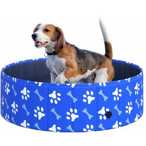 PawHut Dog Swimming Pool Foldable Pet Bathing Shower Tub Padding Pool Φ100cm S