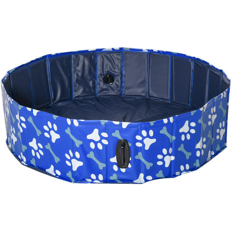 PawHut Dog Swimming Pool Foldable Pet Bathing Shower Tub Padding Pool Φ120cm M