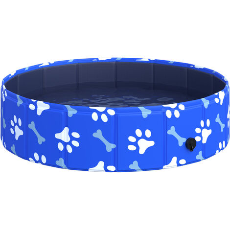PawHut Dog Swimming Pool Foldable Pet Bathing Shower Tub Padding Pool Φ80cm XS