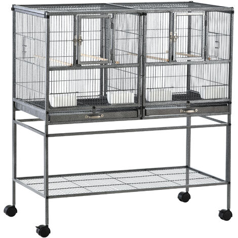"""main image of """"PawHut Double Rolling Metal Bird Cage w/ Removable Tray Shelf Wood Perch Food Tray"""""""