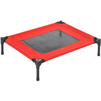 PawHut Elevated Pet Bed Portable Camping Raised Dog Metal Frame Black and Red - Medium