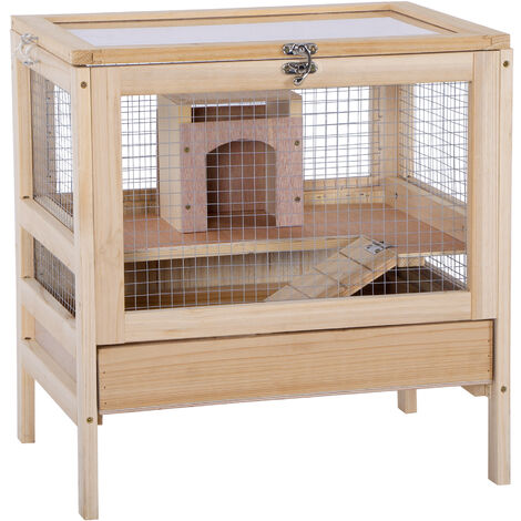 """main image of """"PawHut Elevated Wooden Hamster Cage Rodent Mouse Pet Small Hut House"""""""