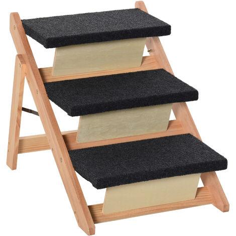 PawHut Escalera de Madera para Perros Plegable Rampa con 3 Escalones Cama 60x47x50 cm - Negro y Natural