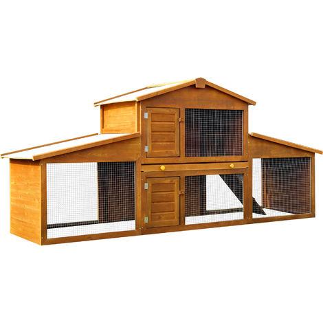 PawHut Extra Large Rabbit Guinea Pig Hutch House Cage Pen Wooden (215x63x100cm)