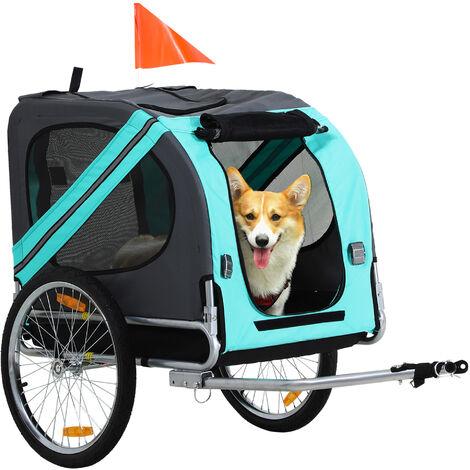 PawHut® Fahrradanhänger Haustier Hundeanhänger Wetterschutz Grün Oxfordstoff Atmungsaktiv 130 x 73 x 94 cm - grün/grau