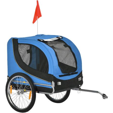 Pawhut® Fahrradanhänger Hundeanhänger für Fahrräder | 600D Oxford, Stahl | 130 x 90 x 110 cm | Blau, Schwarz - blau/schwarz
