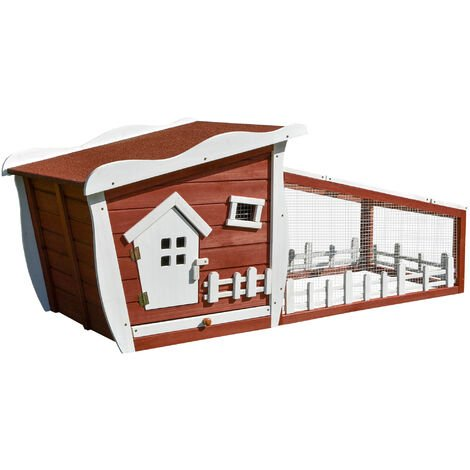 PawHut Fir Wood Rabbit House Hutch w/ Mesh Run Compact Ramp Opening Roof