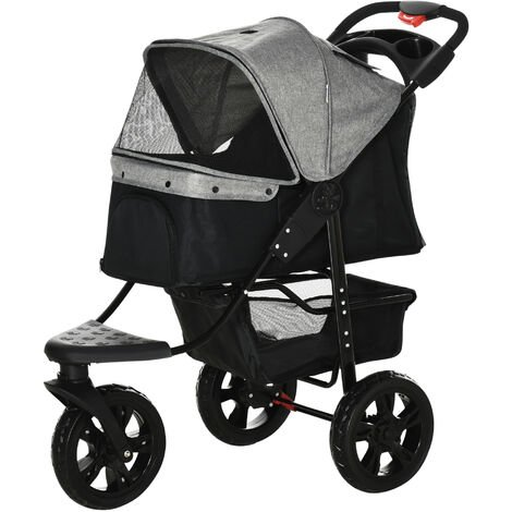 PawHut Folding 3 Wheel Pet Stroller Travel Adjustable Canopy Storage Brake Grey