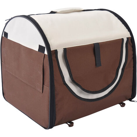 PawHut Folding Fabric Pet Crate Travel Carrier Cage Brown - 46L x 36W x 41H cm
