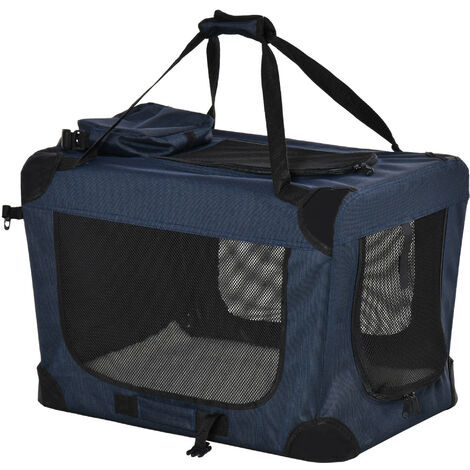 "main image of ""PawHut Folding Pet Carrier Bag w/ Cushion Storage Bags Dog Cat Travel Blue Large"""