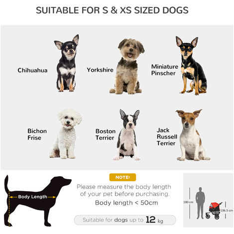PawHut Folding Pet Stroller Dog/Cat Travel Carriage w/ Wheels Adjustable Canopy