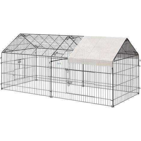 PawHut® Freigehege Kaninchenstall mit Sonnenschutz Metall Beige - schwarz/beige