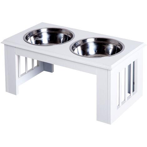 PawHut® Futternapf Futterschüssel Erhöhter Hundenapf 2 Näpfe Pflegeleicht Edelstahl Weiß