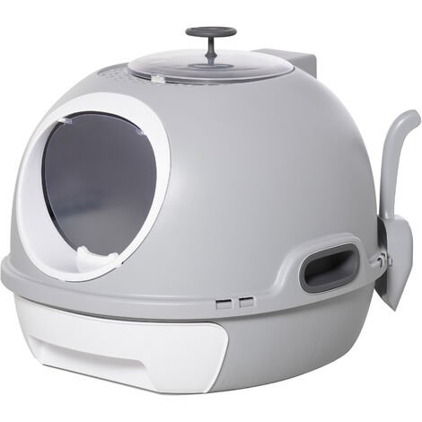 "main image of ""PawHut Futuristic Capsule-Shaped Cat Litter Box w/ 2 Doors Litter Scoop Drawer"""