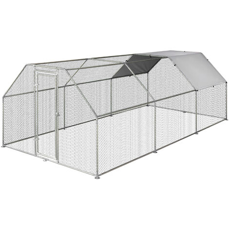PawHut Gallinero de Exterior 2,8x5,7x1,95m Estructura de Metal Galvanizado Tela Oxford - Plata