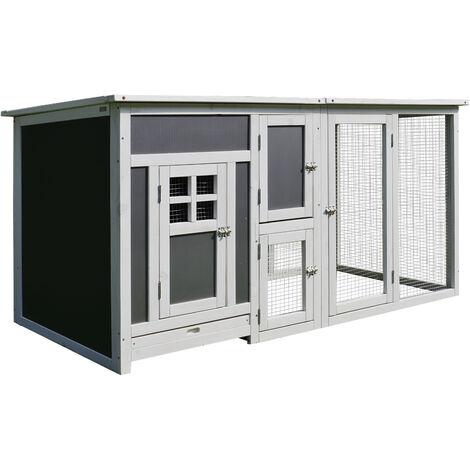 PawHut Gallinero Exterior de Madera Bandeja Extraíble y Techo Abatible 160x75x80 cm - Blanco y gris